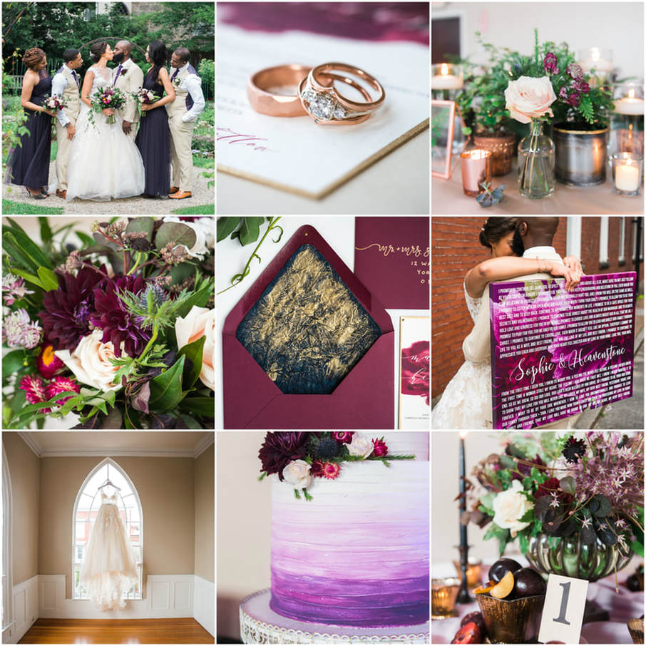 A Gorgeous Burgundy Wedding With Touches Of Navy Shades Plum And Gold